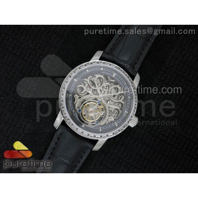 Patrimony Tourbillon SS AXF Diamonds Bezel Gray Skeleton Dial on Black Leather Strap