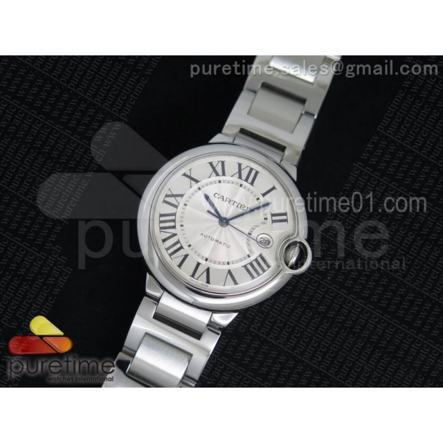 Ballon Bleu 42mm SS V6F 1:1 Best Edition White Texture Dial on SS Bracelet A2892