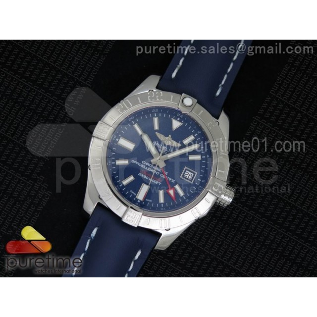 Avenger II GMT SS Blue Dial on Blue Leather Strap A2836