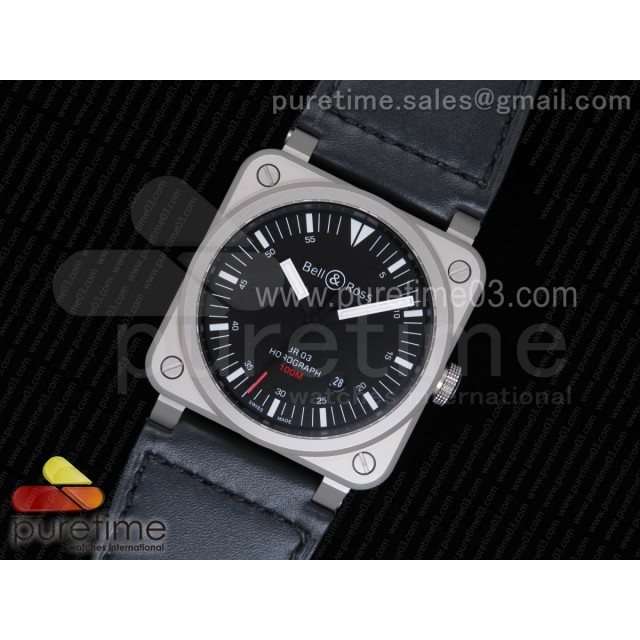 BR 03-92 Horograph Satin-polished Steel Black Dial on Black Leather Strap MIYOTA 9015 (Free Nylon Strap)