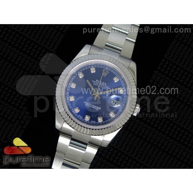 DateJust II SS Fluted Bezel Blue Dial Diamonds Markers on SS Bracelet A3136