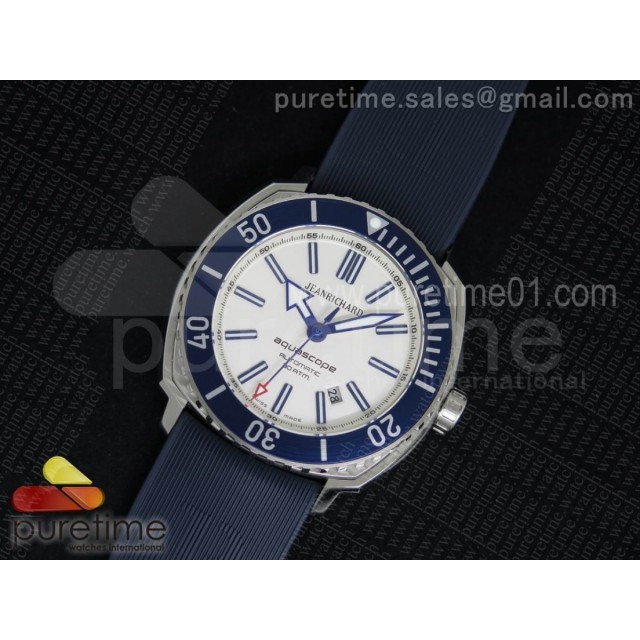Aquascope SS Blue Bezel White Dial on Blue Rubber Strap MIYOTA 9015