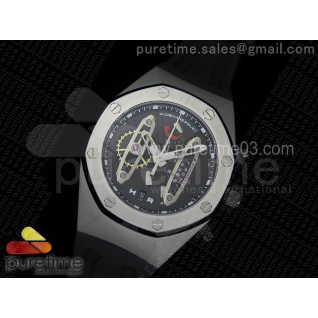 Royal Oak Concept SS Black/Silver Dial Black Pushers on Black Rubber Strap Jap Quartz