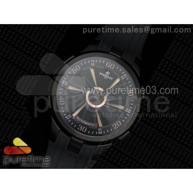Turbine 44mm PVD All Black Rotating Dial on Black Rubber Strap A23J