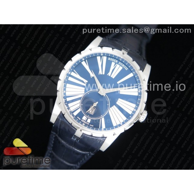 Excalibur 42mm Dbex0535 SS RDF 1:1 Best Edition Blue Dial on Blue Leather Strap A830