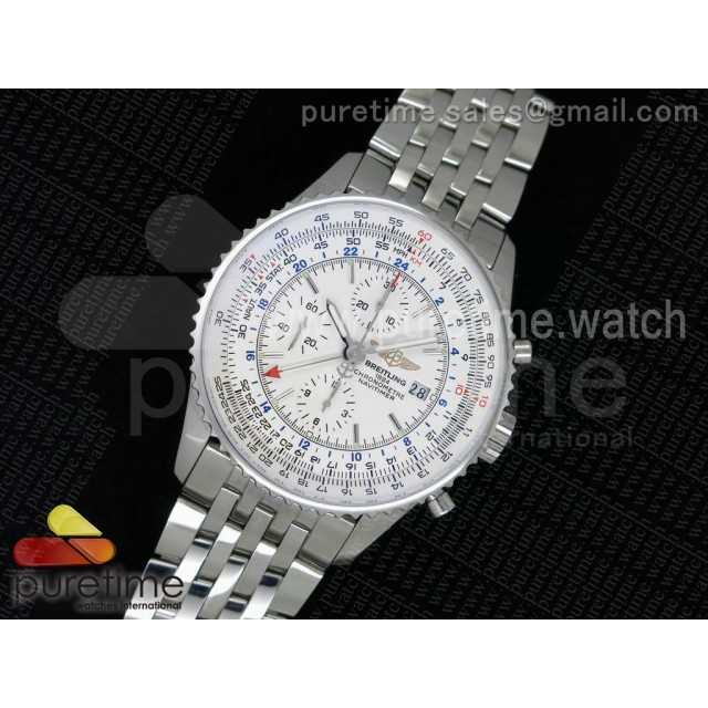 Navitimer GMT SS JF 1:1 Best Edition White Dial on SS Bracelet A7750