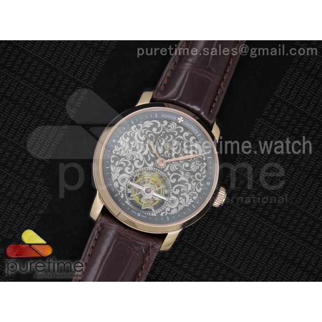 The Patrimony Tourbillon RG TF Best Edition Gray Inner Bezel Skeleton Dial on Brown Croco Leather Strap