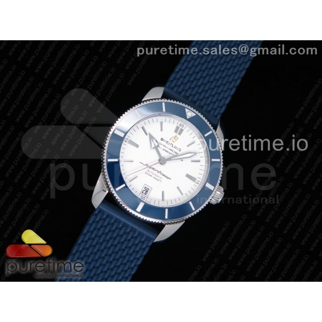 SuperOcean Heritage ii 42mm SS GF 1:1 Best Edition White Dial Blue Ceramic Bezel on Blue Rubber Strap MIYOTA 9015