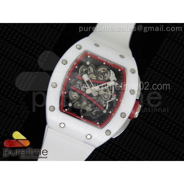 RM061 White Ceramic Red Inner Bezel Skeleton Dial on White Rubber Strap MIYOTA8215
