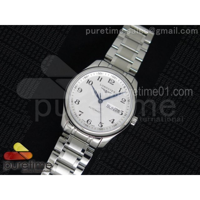 Master Day Date SS White Textured Dial on Bracelet A2836