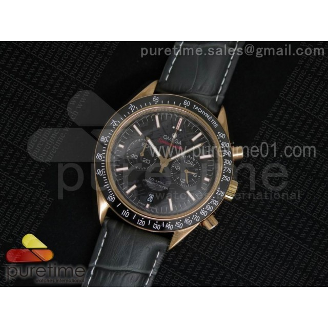 Speedmaster Co-Axial Chrono RG Black Textured Dial on Gray Leather Strap Jap Quartz