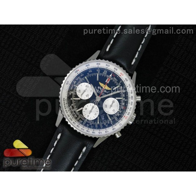 Navitimer 01 1:1 SS Black Dial on Black Leather Strap A7750