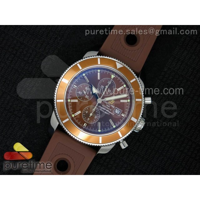 Super Ocean Heritage Chrono SS Brown Dial on Brown Rubber Strap A7750