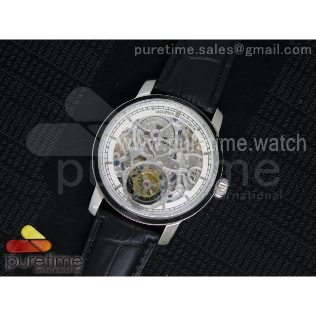 Patrimony Automatic Tourbillon SS White Skeleton Dial on Black Leather Strap