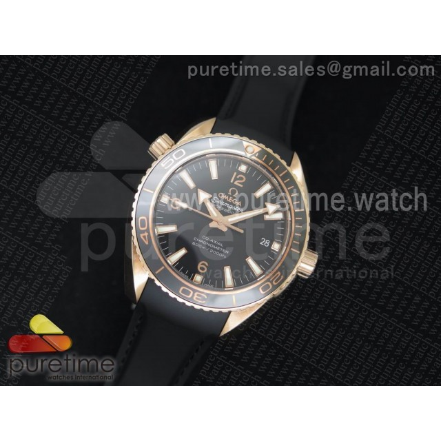 Planet Ocean Professional Rose Gold Liquid Metal V6F 42mm on Black Rubber Strap A8501