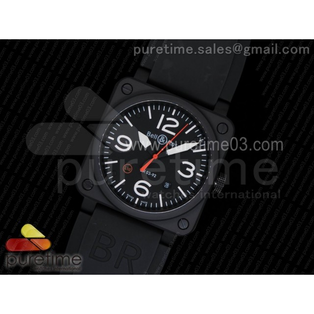 BR 03-92 PVD Black Dial White Markers Ltd Edition on Black Rubber Strap MIYOTA 9015