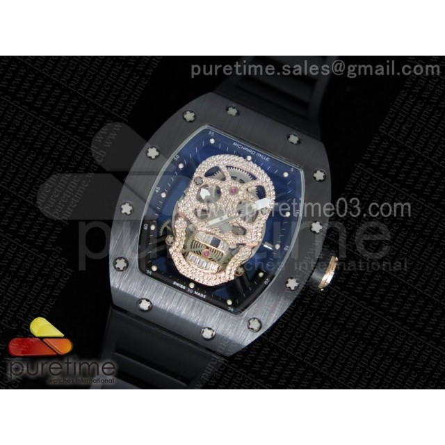 RM052 Black Ceramic Full Paved Diamonds Skull Dial Style 1 on Black Rubber Strap MIYOTA8215