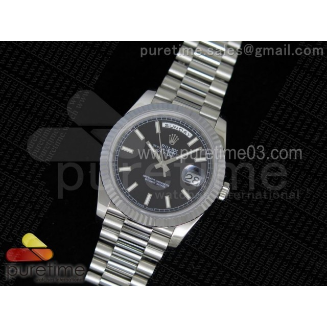 Day-Date 40 228239 Noob 1:1 Best Edition Black Dial on SS President Bracelet A3255