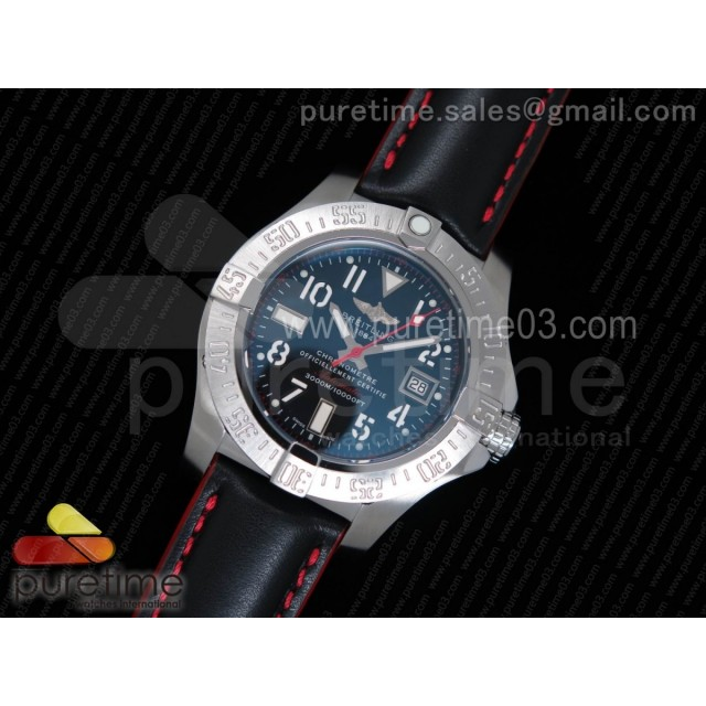 Avenger II Seawolf SS Black Dial Numeral Markers Red Hand on Black Leather Strap A2836