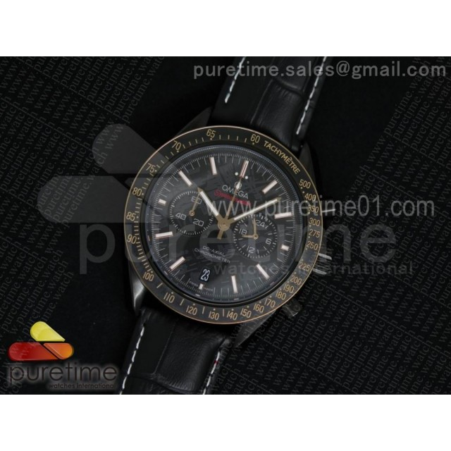 Speedmaster Co-Axial Chrono PVD Black Textured Dial on Black Leather Strap Jap Quartz