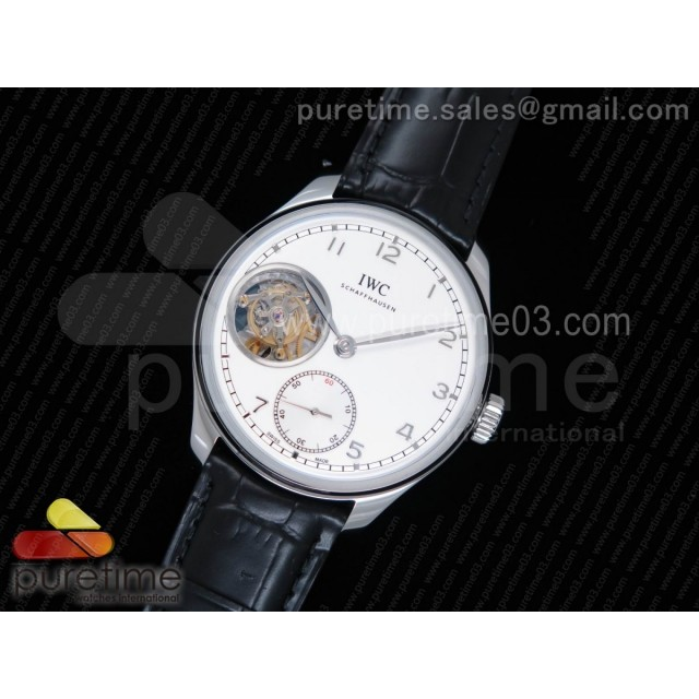 Portuguese Tourbillon IW5463 SS YLF Best Edition White Dial SS Markers on Black Leather Strap A98900