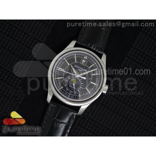 Classic 5205 Moonphase SS Black Dial on Black Leather Strap Miyota 9015