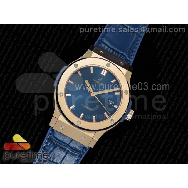 Classic Fusion 42mm RG JJF 1:1 Best Edition Blue Dial on Blue Gummy Strap A2892