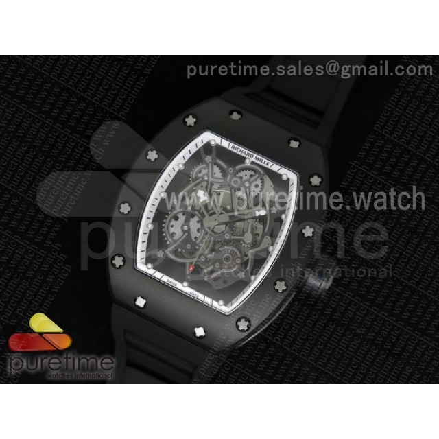 RM035 PVD RMF White Inner Bezel Skeleton Dial on Black Rubber Strap MIYOTA9015