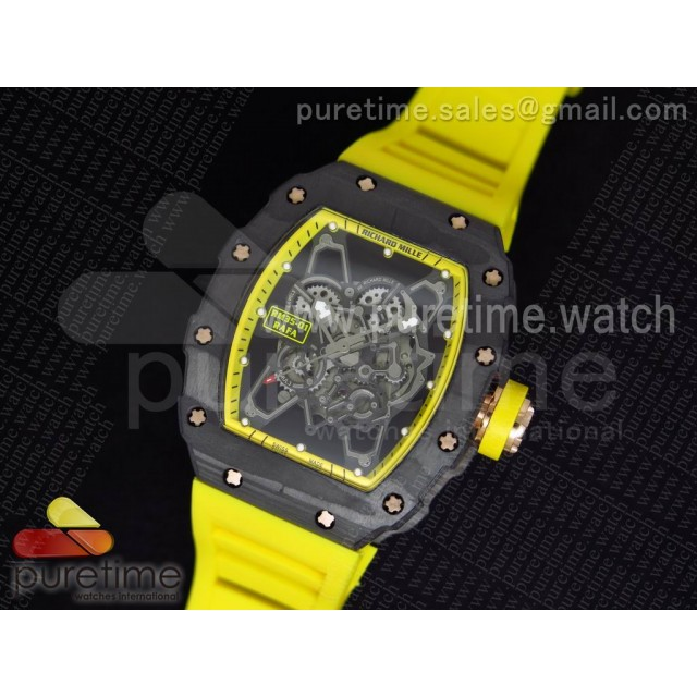 RM 035 Forge Carbon Yellow Inner Bezel RG Skeleton Dial on Yellow Rubber Strap MIYOTA9015