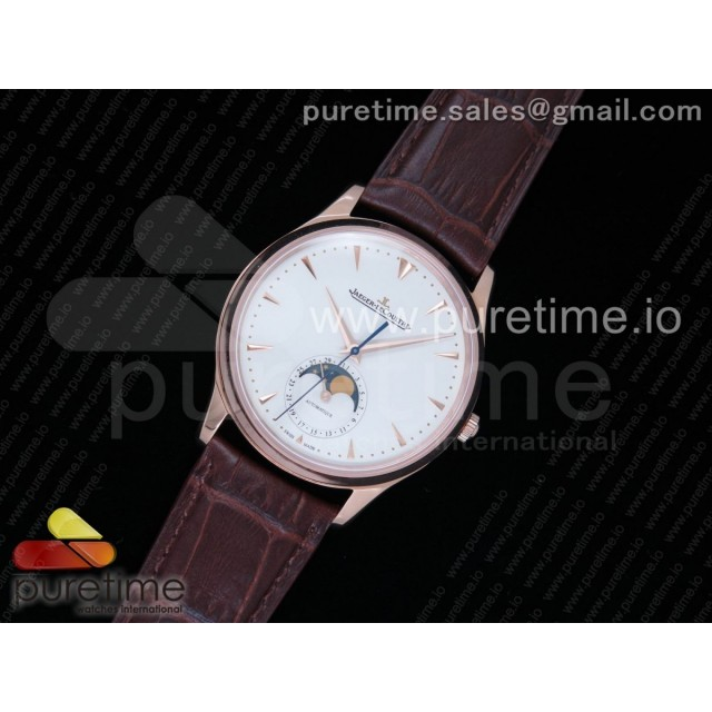 Master Ultra Thin Moon 1362520 RG ZF 1:1 Best Edition White Dial on Brown Leather Strap A925