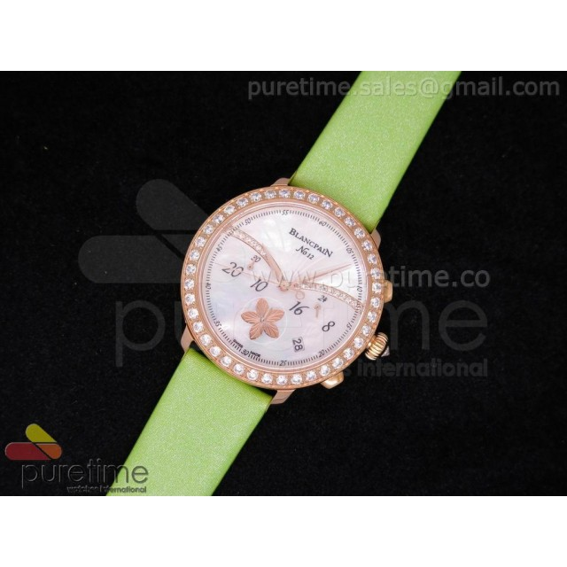 Cheap Discount Replica Unveils Chono RG White MOP Dial on Green Fabric Strap JAP Quartz