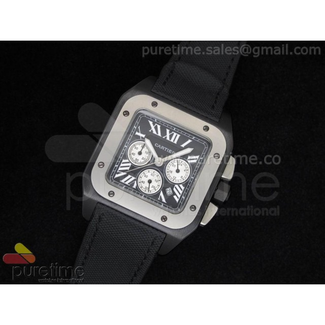 Cheap Discount Replica Santos-100 DLC Titanium Bezel Black Dial on Black Nylon Strap Jap Quartz