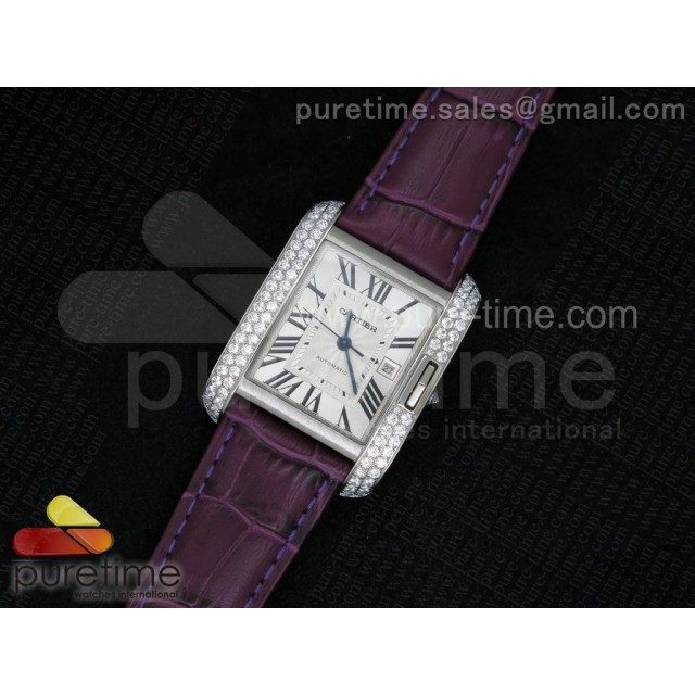 Cheap Discount Replica Tank Anglaise SS JF White Textured Dial Diamonds Bezel on Purple Leather Strap A2688