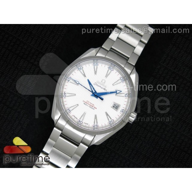 Cheap Discount Replica Aqua Terra 150M SS 1:1 Best Edition Deep Blue Hands White Textured Dial on SS Bracelet A8500
