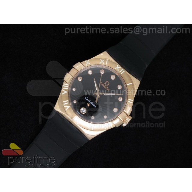 Cheap Discount Replica Constellation 35mm RG Black Dial on Black Rubber Strap Swiss Ronda Quartz