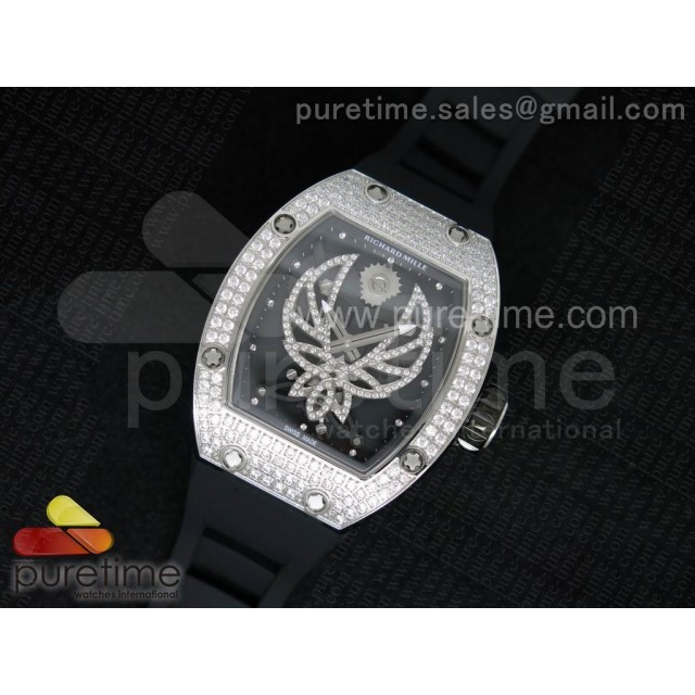 Cheap Discount Replica RM 051 SS Full Paved Diamonds Ph?nix Dial on Black Rubber Strap 6T51