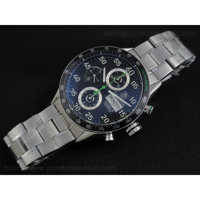 Cheap Discount Replica Carrera Chrono 43mm F1 Limited Edition Black CF Dial Green Bracelet Swiss