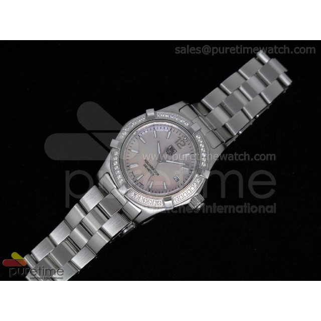 Cheap Discount Replica Aquaracer Ladies SS Pink MOP Dial Stick Markers Diamond Bezel on Bracelet Swiss Quartz