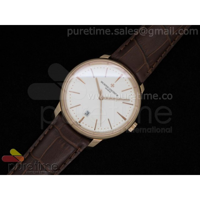 Cheap Discount Replica Patrimony Date 41mm RG White Dial on Leather Strap A2824