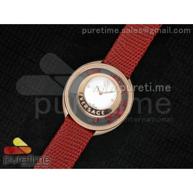 Cheap Discount Replica Destiny Spirit RG Color Crystal Bezel White MOP Dial on Red Leather Strap ETA Quartz