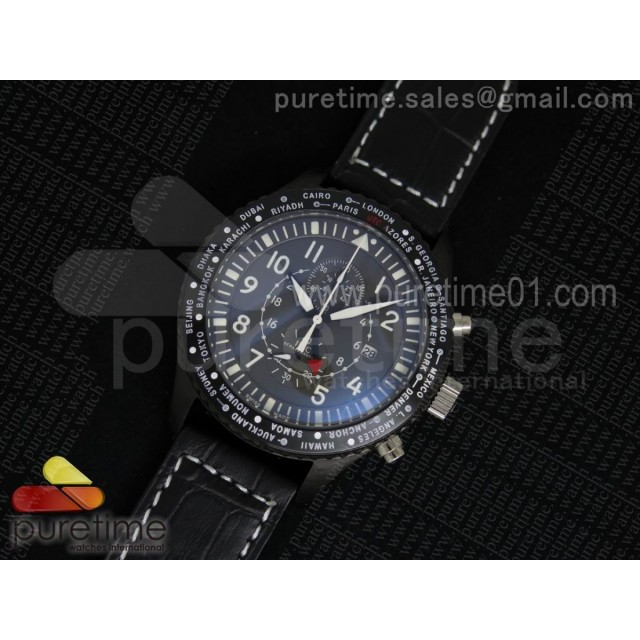 Timezoner Chrono PVD Gray Dial on Black Leather Strap Jap Quartz